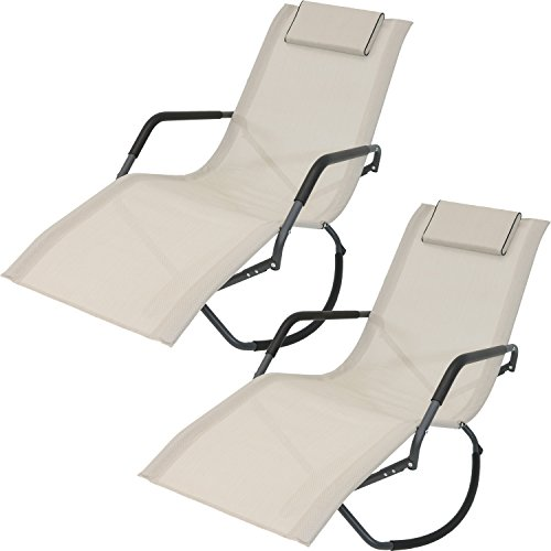 Sunnydaze Rocking Chaise Lounge Chair with Headrest Pillow, Outdoor Folding Patio Lounger, Beige, Set of 2