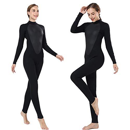 Realon Womens Wetsuit Full 3mm Neoprene Surfing Scuba Diving Snorkeling Swimming Suit (Black 3mm, 2XL) (Womens Full Wetsuit)
