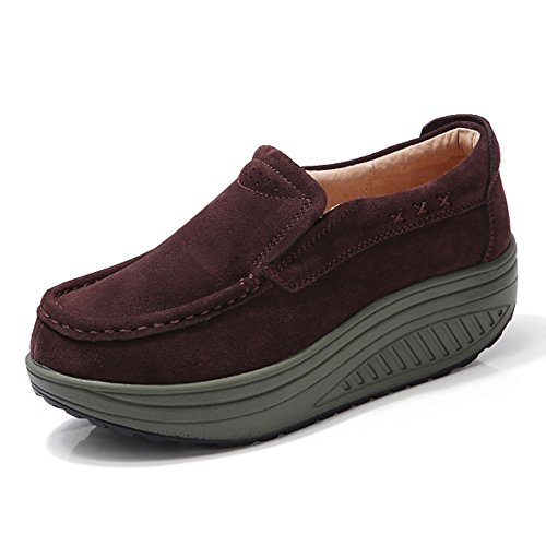 Women Slip On Suede Loafers Casual Platform Moccasion Shoes Wedge Sneakers Coffee 8 B(M) US ()