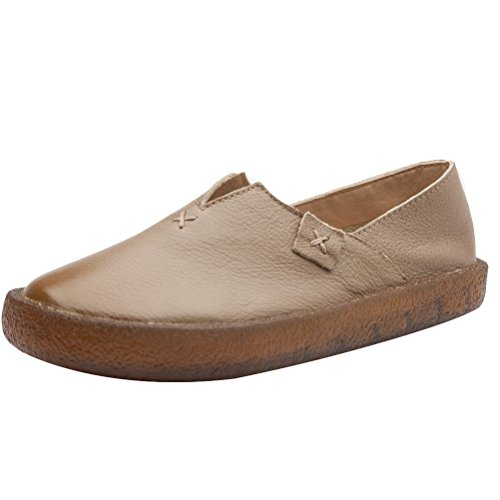 Camel Pebbled - Mordenmiss Women's Candy Color Mori Style Loafer Step-in Casual Play Shoes 38 Camel