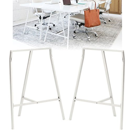 Set of 2 Industrial Look Durable Steel Crosscut Trestle Legs for Table , Desk or Workstation , White