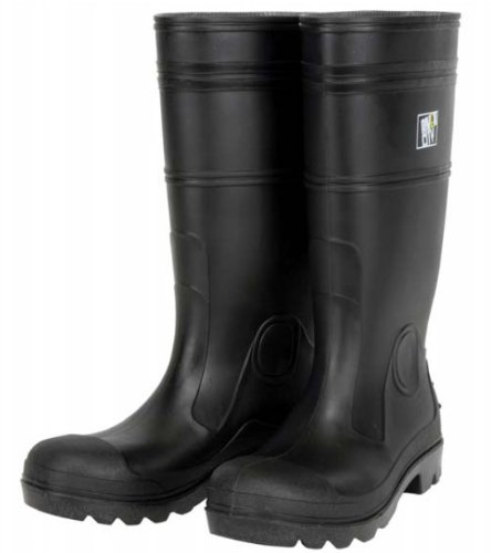 MCR Safety PBP1207 Waterproof PVC Men's Knee Boot with Plain Toe, Black, Size 7, 1-Pair