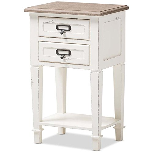 (Baxton Studio Nightstand in Distressed Natural and White Finish)