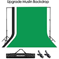Excelvan Light-proof Muslin Thick Background Stand Kit Support System Adjustable Photography Set 10 x 6.5ft Portable Photo Video Studio with Carry Bag and Backdrop, Green Black and White