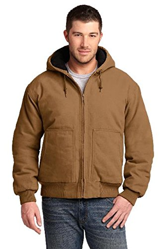 Cornerstone Hooded Work Jacket - CornerStone Washed Duck Cloth Insulated Hooded Work Jacket. CSJ41 Duck Brown
