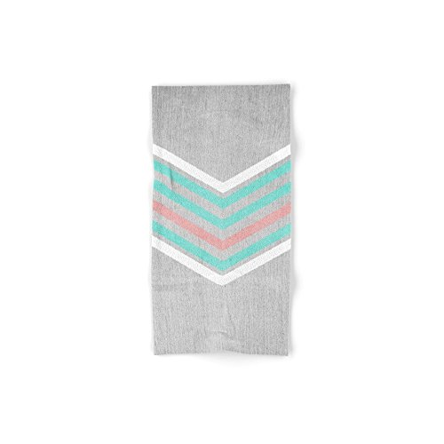 Society6 Teal, Pink And White Chevron On Silver Grey Wood Hand Towel 30''x15'' by Society6 (Image #1)