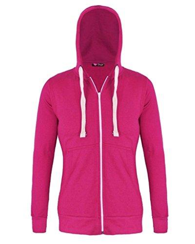 RM Fashions Womens Plain Hoodie Hooded Zip Zipper Top Sweat Shirt Jacket Sweater Hoodie (Medium, Hot (Zip Pullover Hot Jacket)