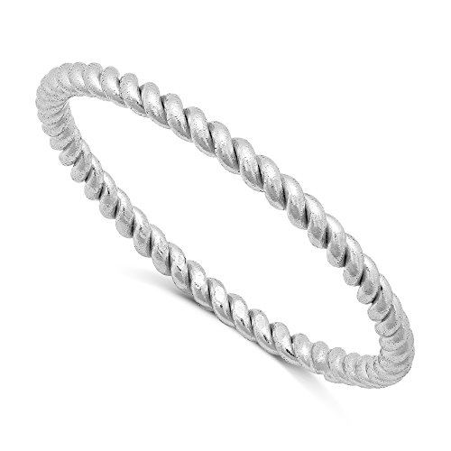 [Sterling Silver Stackable Twisted Rope Band Ring - Silver (8)] (Twisted Stackable Sterling Silver Ring)