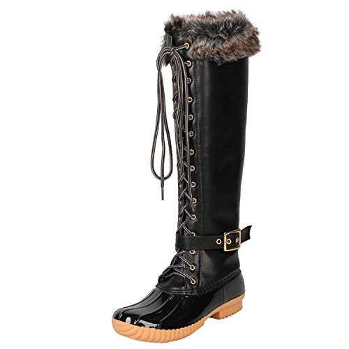 Nature Breeze Womens Round Toe Faux Fur Lace Up Rain Snow Wellies Rubber Outsole Knee High Duck Boot 11 Black