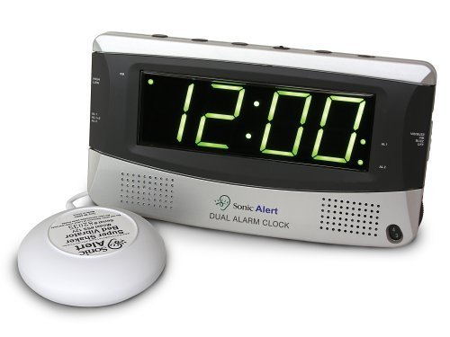 Sonic Alert Sonic Boom Vibrating Alarm Clock with Powerful 12V Bed Shake & Large 1.8 Bright Green LED Display