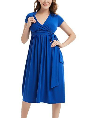 Maternity Wrap Dress V-Neck Midi Mama Dress Short Sleeve Front Tie Nursing Dress Royal Blue XL (Tie Front Maternity Dress)
