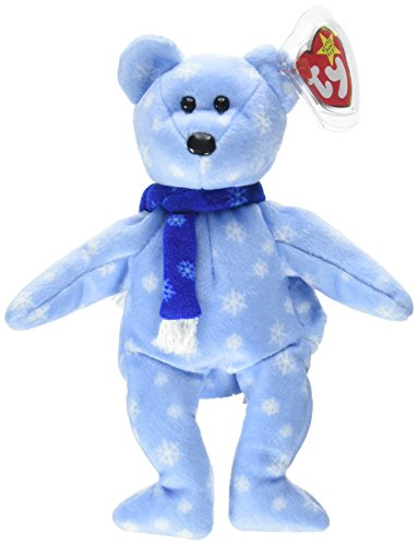 TY Beanie Babies 1999 Holiday Teddy Bear Stuffed Animal PlushToy - 8 1/2 inches tall - Light Blue with Snowflake Design and Blue - Bear Snowflake Teddy