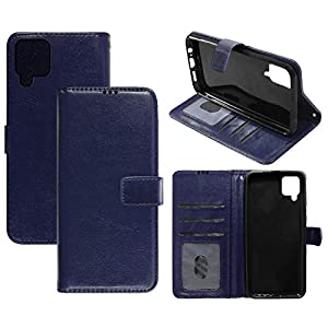 Amazon Brand – Solimo Flip Leather Mobile Cover (Soft & Flexible Back case) for Samsung Galaxy M12 (Blue)