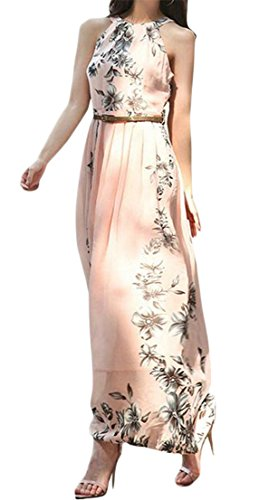 Grande Tang Des Femmes De Sangle Souple Imprimé Floral Manches Robe De Plage Maxi En Mousseline De Soie Rose Clair