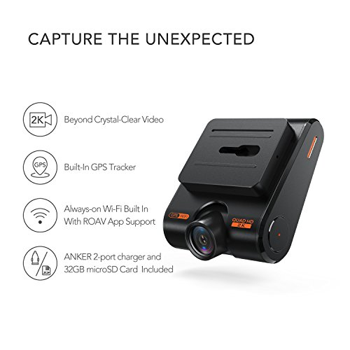 Roav by Anker Dash Cam C1 Pro, 2K Resolution 2560X1440, Built-In GPS/WiFi, 2.4