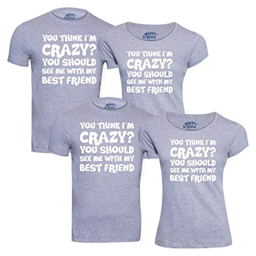 Buy Bonorganik You Think I M Crazy Friends Tees Friendship Day T Shirts Friendship Day Tees Friendship Day Gifts Gifts For Friendship Day Best Friends Tshirts Combo Gifts For Friendship Day Casula Tshirts Tees At Amazon In