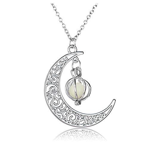 Windoson Deals Glow in The Dark Moon&Pumpkin Necklace Pendant Chain Romantic Gift (Blue)]()
