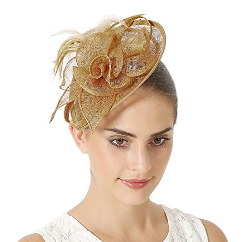 Sinamay Vintage Women Fascinators Derby Hat Feather with Headband Cocktail Headpiece for Tea Party Wedding (One Size, ()