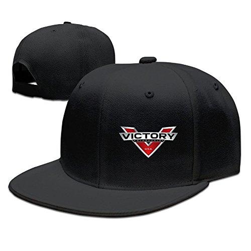 (POY-SAIN Victory USA Motorcycle Logo Hip Hop Cap Hat For Adult Black)