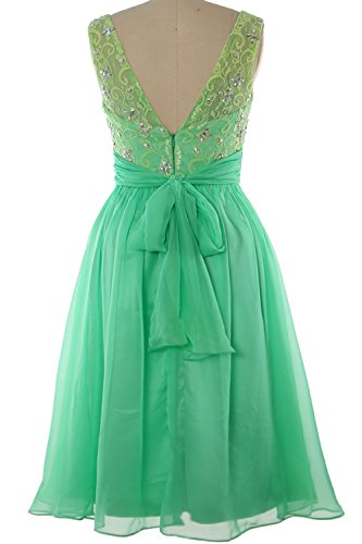 MACloth Women Boat Neck Lace Beading Short Wedding Bridesmaid Homecoming Dress Lavanda