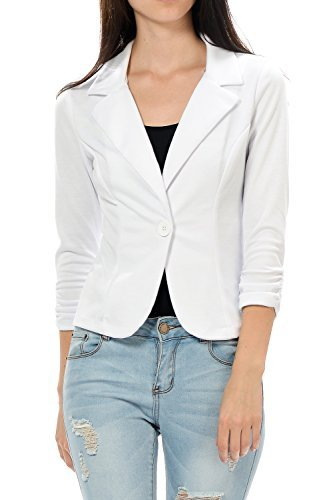 Yourstyle USA Casual Three Quarter Sleeve Fitted Blazer-MADE IN USA (Large, (Quarter Sleeve Blazer)