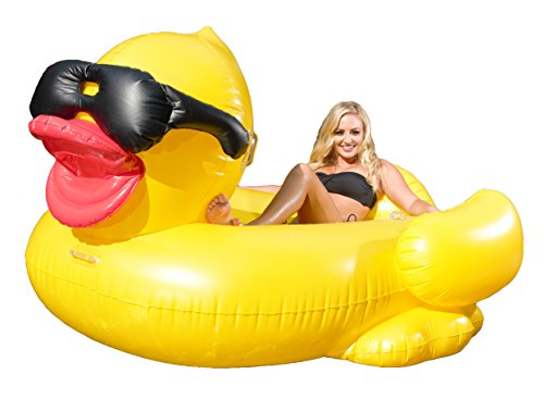 GAME 5000 Giant Inflatable Pool Floating Riding Derby Duck w/Cup Holders and Straps (Floatie Lounge for Adults and Kids, Larger than Swan)