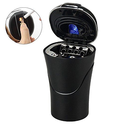 Aschenbecher Auto mit Deckel Auto Zigarettenanzünder USB Aufladbar Abziehbar mit LED Lampe für Kfz Reise Büro