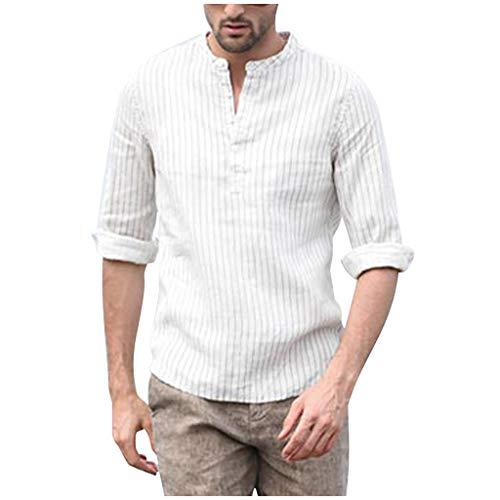 iHHAPY Casual Shirts Men Linen Shirt 2019 Linen Henley Shirts Long Sleeve Shirts V-Collar Regular Fit Breathable ()