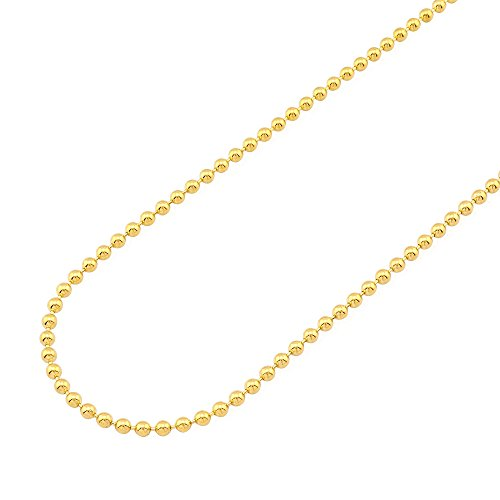 14k Fully Solid Yellow Gold 3mm Ball Beaded Chain Necklace 22-30'', 22 by WJD Exclusives