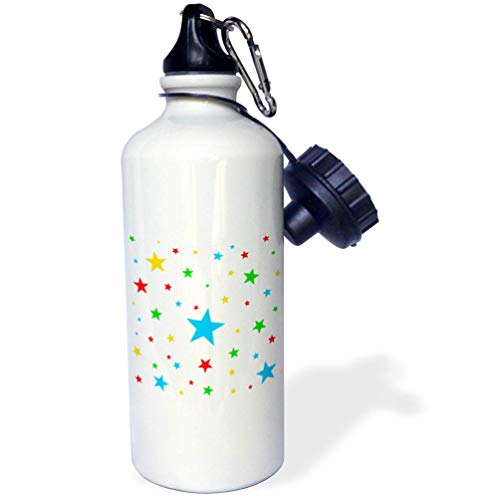 3dRose Alexis Design - America - Fifty Stars Of Freedom. Colorful stars against the white background - 21 oz Sports Water Bottle (wb_288374_1) by 3dRose
