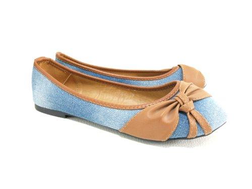 Damen Ballerina Halbschuhe Slipper Lt. Blue # 5598