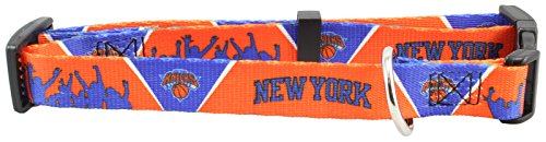 New York Knicks Adjustable Nylon Pet Dog Collar NBA Licensed (Medium) by Hunter