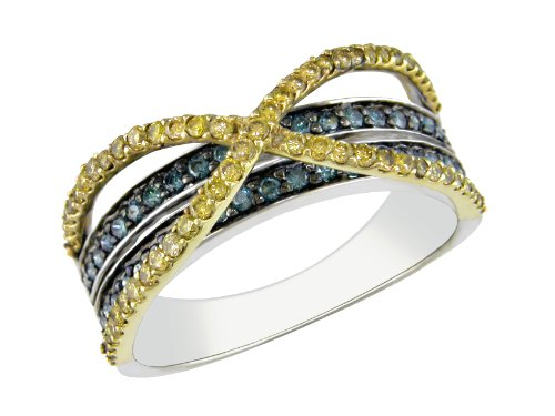 14K Yellow White Gold, Blue and Yellow Diamond Ring, (.5 cttw, I1-I2 Clarity), Size 9