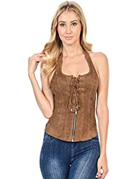 Sexy Sleeveless Suede Halter Vest Top Front Zipper Drawstring (L3640)