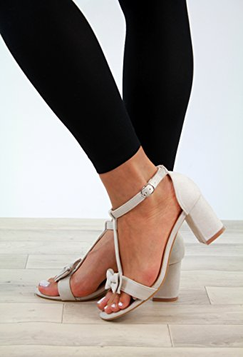 Sandals Block Heel Shoes Strap T Womens Summer New Bow Ankle Bar Cream Mid qtEInP
