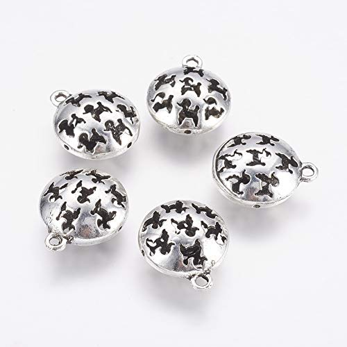 - MegaPet 10pcs Antique Silver Tibetan Style Hollow Alloy Dog Pendants Charms with Bell Inside Doggy Animal Pet Collar Charms DIY Accessories for Bracelets Necklace Earring Jewelry Gifts for Animal Love
