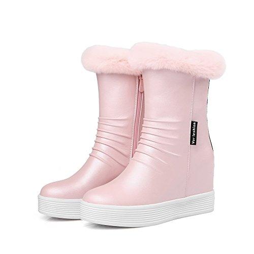 VogueZone009 Damen Reißverschluss Rund Zehe Hoher Absatz Niedrig-Spitze Stiefel Pink