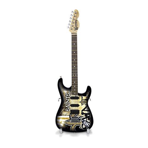 NFL New Orleans Saints Mini Collectible Guitar, 10-Inch x 3-1/4-Inch, (New Orleans Saints Collectible Replica)