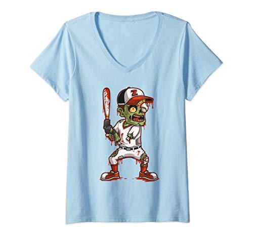 Womens Zombie Baseball Batter Halloween Trick or Treating Gift V-Neck T-Shirt
