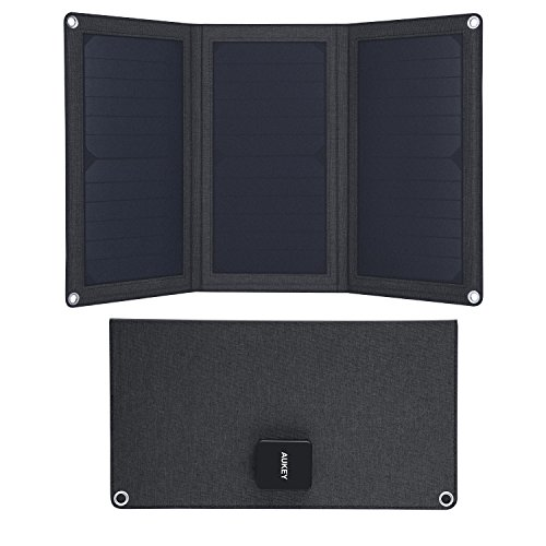 AUKEY 21W Solar Charger with Foldable SunPower Solar Panels & Dual USB Ports for iPhone iPad Samsung and More by AUKEY
