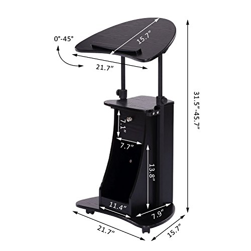HOMCOM Adjustable Height Laptop Cart with Storage - Black by HOMCOM (Image #6)