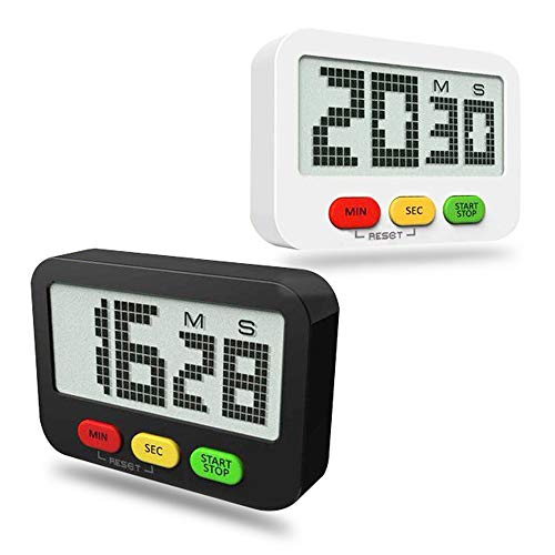 ANOLE Timer 2 Pack Digital Kitchen Timer Countdown/Count Up Functions, Large LCD Display, Strong Back Magnet Simple For Cooking Baking Learning Workout Pilates Yoga Black&White