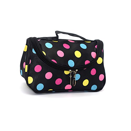 Makeup Mirror Dots (Portable Travel Small Mirror Makeup Cosmetic Bag With Brush Holder For Women Teens Girls)