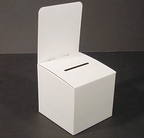 Displays2go WCBB Large Suggestion Box with Removable Header and Cardboard Ballot Box for Tabletop Use, White, Set of 10 by Displays2go