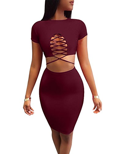 TOB Women's Sexy Lace up Short Sleeve Top Bodycon Skirt Club 2 Piece Dress Wine Red