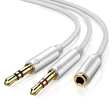 UGREEN Headphone Splitter For Computer 3.5mm Female to 2 Dual 3.5mm Male Headphone Mic Audio Y Splitter Cable Smartphone Headset to PC Adapter