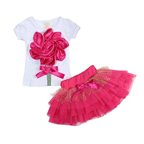 (Mud Kingdom Outfits for Girls Summer 4T Rose Red)