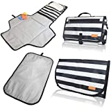 Portable Diaper Changing Pad & Baby Changing Pad – 2 Foldable, Waterproof, Lightweight, Travel Size, and Wipeable Diaper Changing Mat. Includes Soft Head Pillow & Storage Pockets - for Infants & Baby