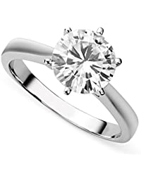 14K White Gold Moissanite by Charles & Colvard 9.5mm Round Engagement Ring, 3.10ct DEW