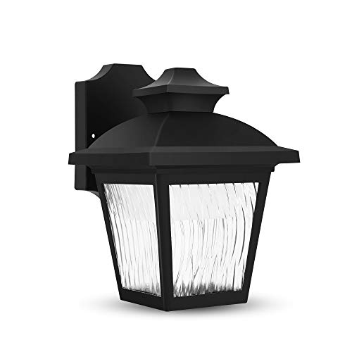 FUDESY Classic LED Outdoor Wall Lantern with Dust to Dawn Sensor, Black Polypropylene Plastic Porch Lamp with Water Ripple Acrylic Lenses, Waterproof Porch Light - Classic Fixture Outdoor
